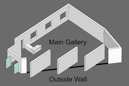 3D Gallery Sketch Outside Gallery Walls Open