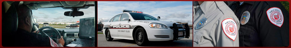 Security officer driving, Owens police car, public safety officer badges
